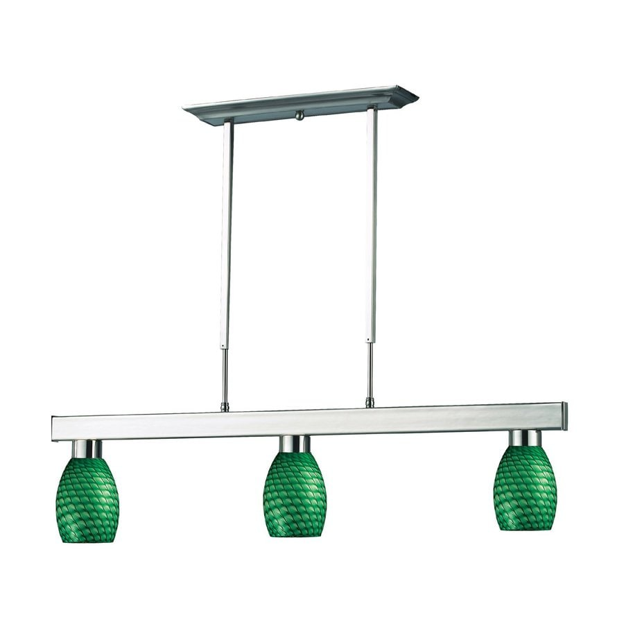 Z-Lite Cobalt 5-in W 3-Light Brushed Nickel Kitchen Island Light with Tinted Shade