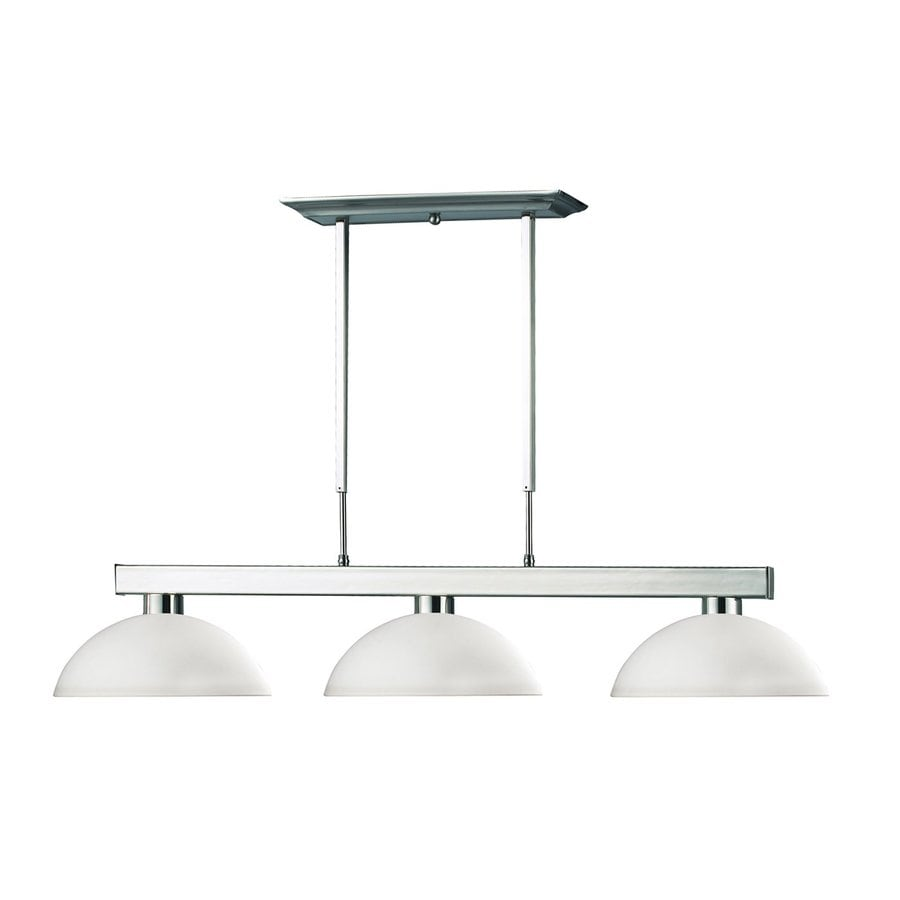 Z-Lite Cobalt 14-in W 3-Light Brushed Nickel Kitchen Island Light with White Shade