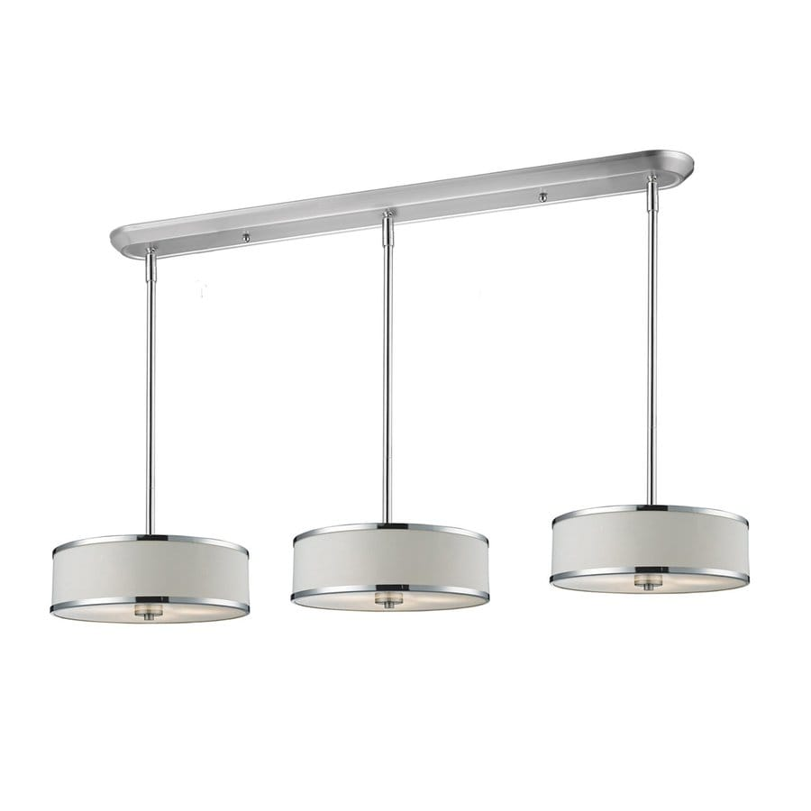 Z-Lite Cameo 16-in W 9-Light Chrome Kitchen Island Light with Fabric Shade