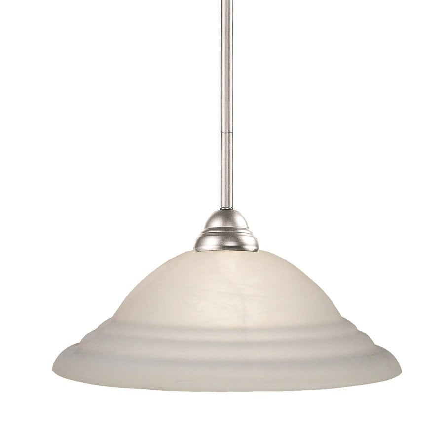 Z-Lite Riviera 16-in Brushed Nickel Single Etched Glass Bell Pendant