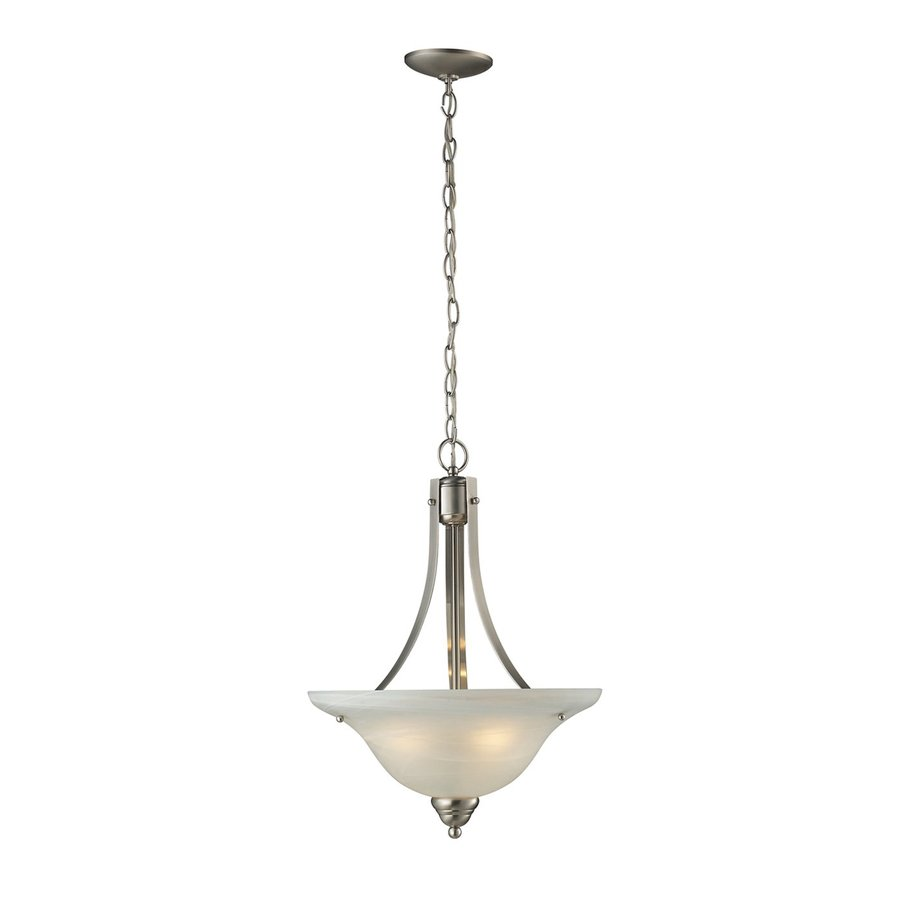 Z-Lite Athena 15.75-in Satin Nickel Single Marbleized Glass Bowl Pendant