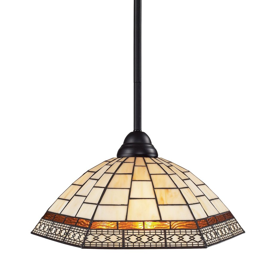 Z-Lite Riviera 14-in Bronze Tiffany-Style Single Stained Glass Dome Pendant