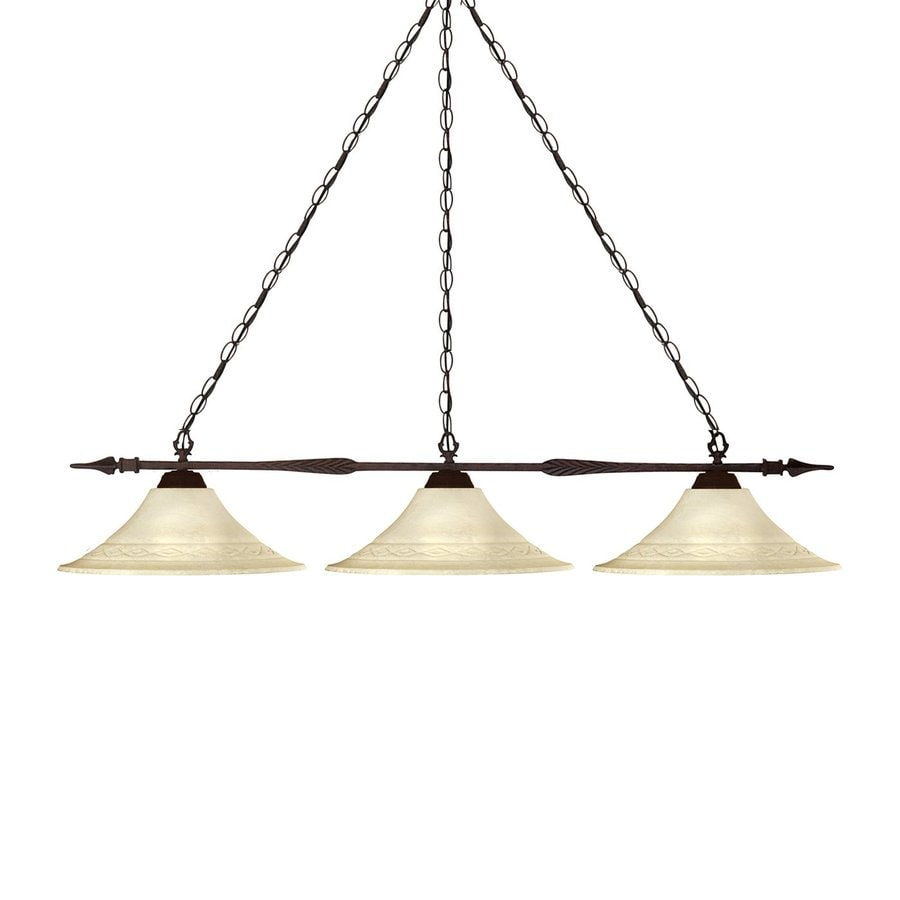 Z-Lite Aztec 53-in W 3-Light Bronze Kitchen Island Light with Tinted Shade