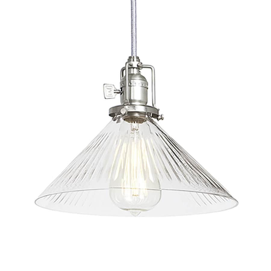 JVI Designs Union Square 10-in Pewter Industrial Single Ribbed Glass Cone Pendant