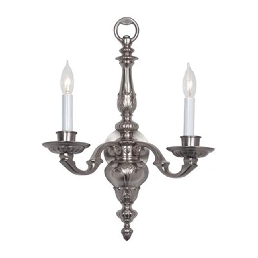 JVI Designs 17-in W 2-Light Pewter Candle Hardwired Wall Sconce