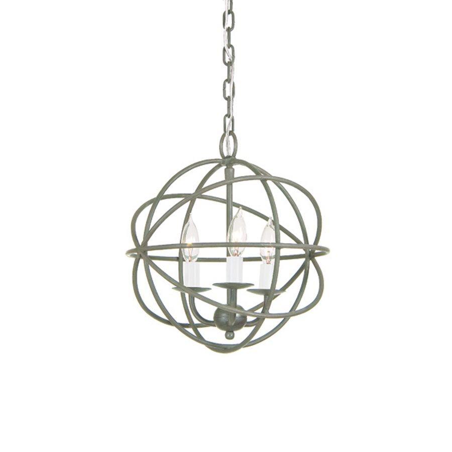 JVI Designs 12-in 3-Light Aged Silver Vintage Globe Chandelier