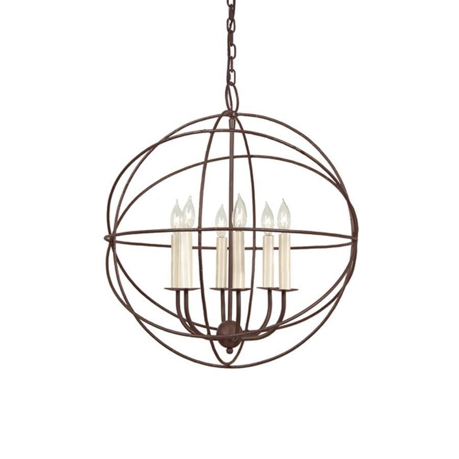 JVI Designs 22-in 6-Light Rust Wrought Iron Globe Chandelier