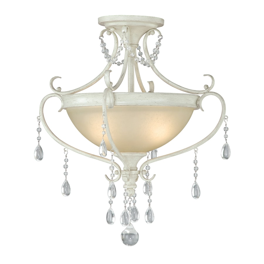 Cascadia Bristol 17-in W Antique Ivory Frosted Glass Crystal Accent Semi-Flush Mount Light