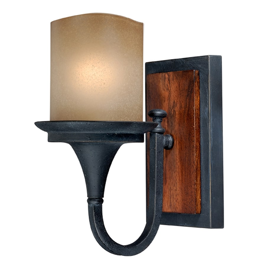 Cascadia Meritage 5.25-in W 1-Light Charred Wood/Black Iron Arm Hardwired Wall Sconce