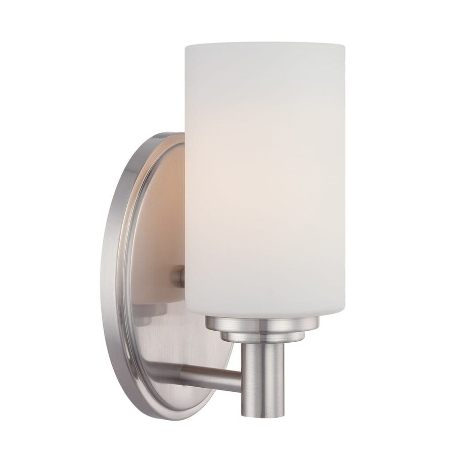 lighting 1 light pittman brushed nickel bathroom vanity light at lowes. Black Bedroom Furniture Sets. Home Design Ideas