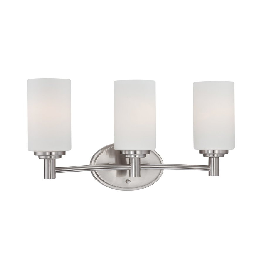 lighting 3 light pittman brushed nickel bathroom vanity light at lowes. Black Bedroom Furniture Sets. Home Design Ideas
