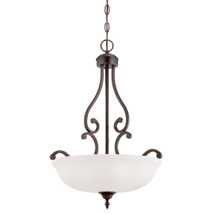 Millennium Lighting Courtney Lakes 18-in Rubbed Bronze Vintage Single Etched Glass Bowl Pendant