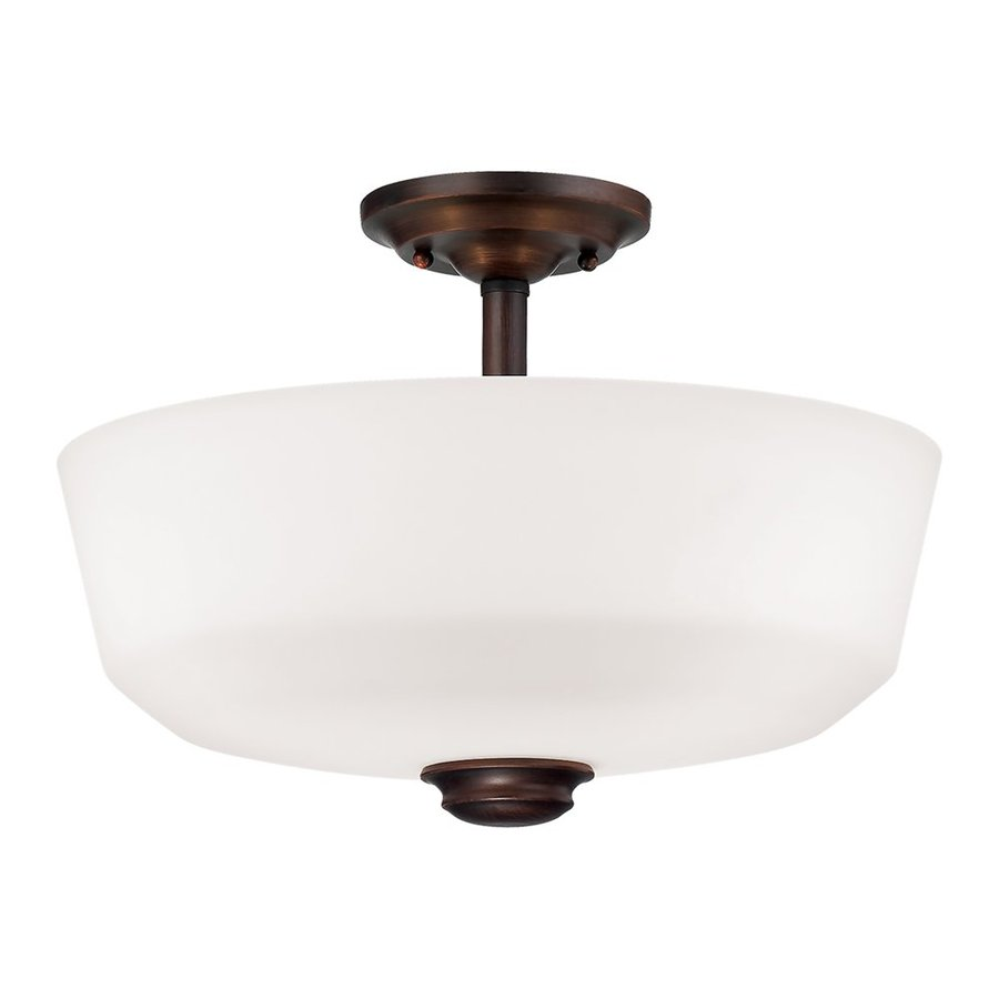 Millennium Lighting Cimmaron 14.5-in W Rubbed Bronze Frosted Glass Semi-Flush Mount Light
