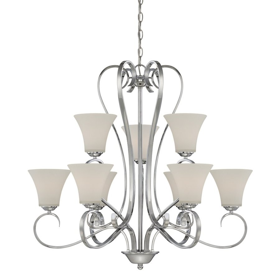 Millennium Lighting Fair Lane 32-in 9-Light Chrome Etched Glass Tiered Chandelier