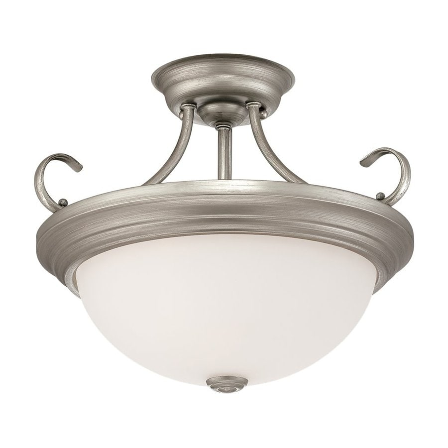 Millennium Lighting 15-in W Rubbed Silver Frosted Glass Semi-Flush Mount Light