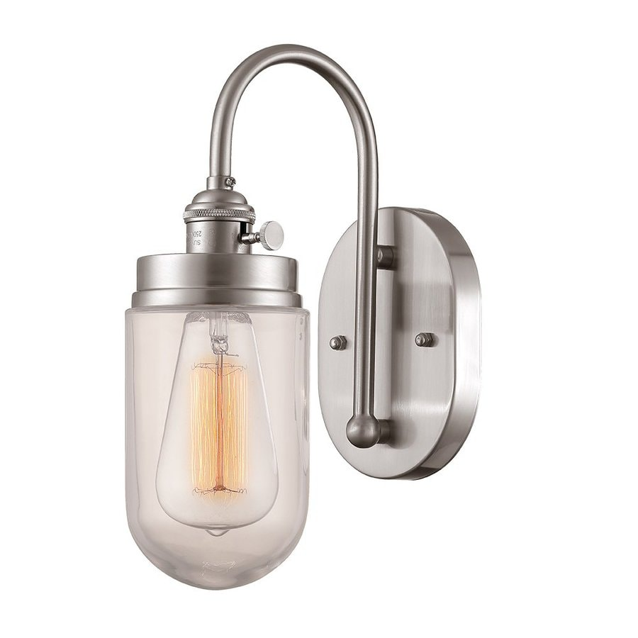 Millennium Lighting Neo-Industrial 7-in W 1-Light Brushed Nickel Vintage Arm Hardwired Wall Sconce