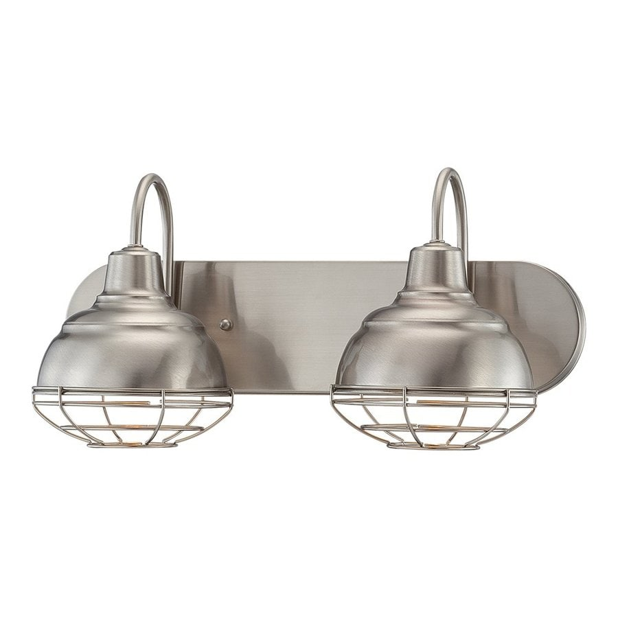 Shop millennium lighting 2 light neo industrial satin for Bathroom vanity lights