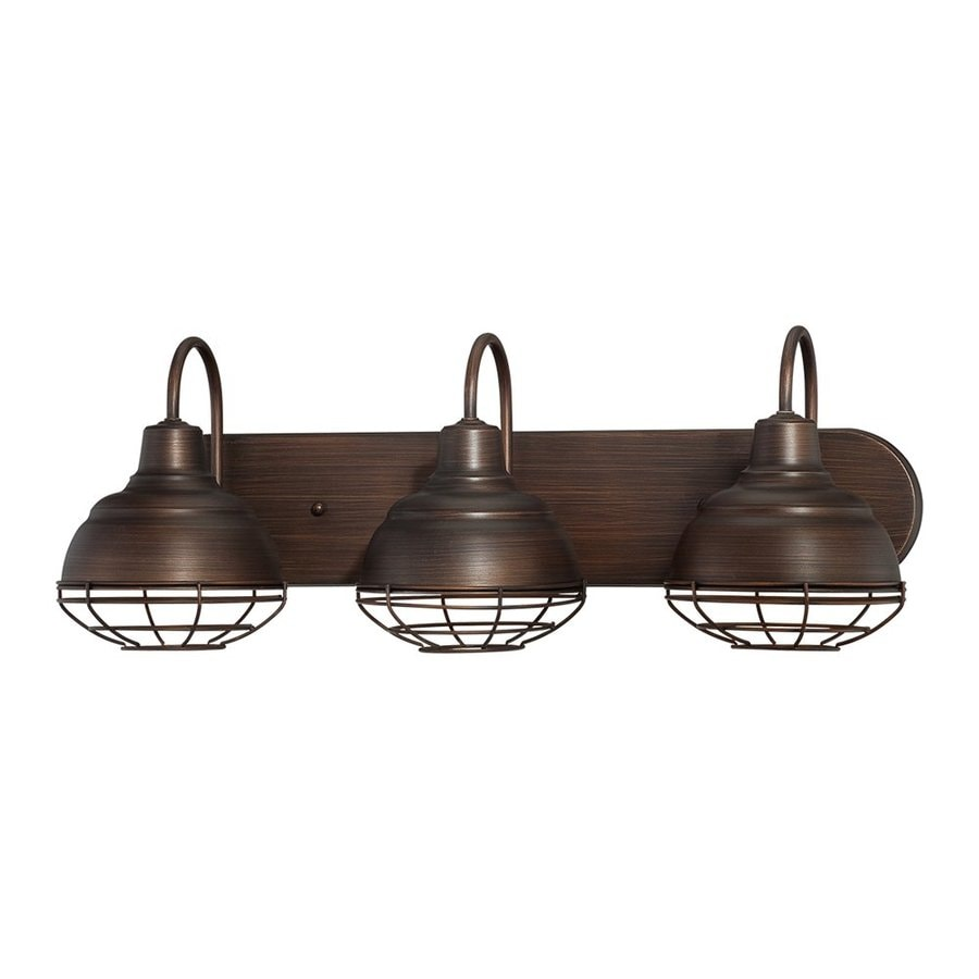 Three Light Bathroom Vanity Light: Shop Millennium Lighting 3-Light Neo-Industrial Rubbed Bronze Standard Bathroom Vanity Light At