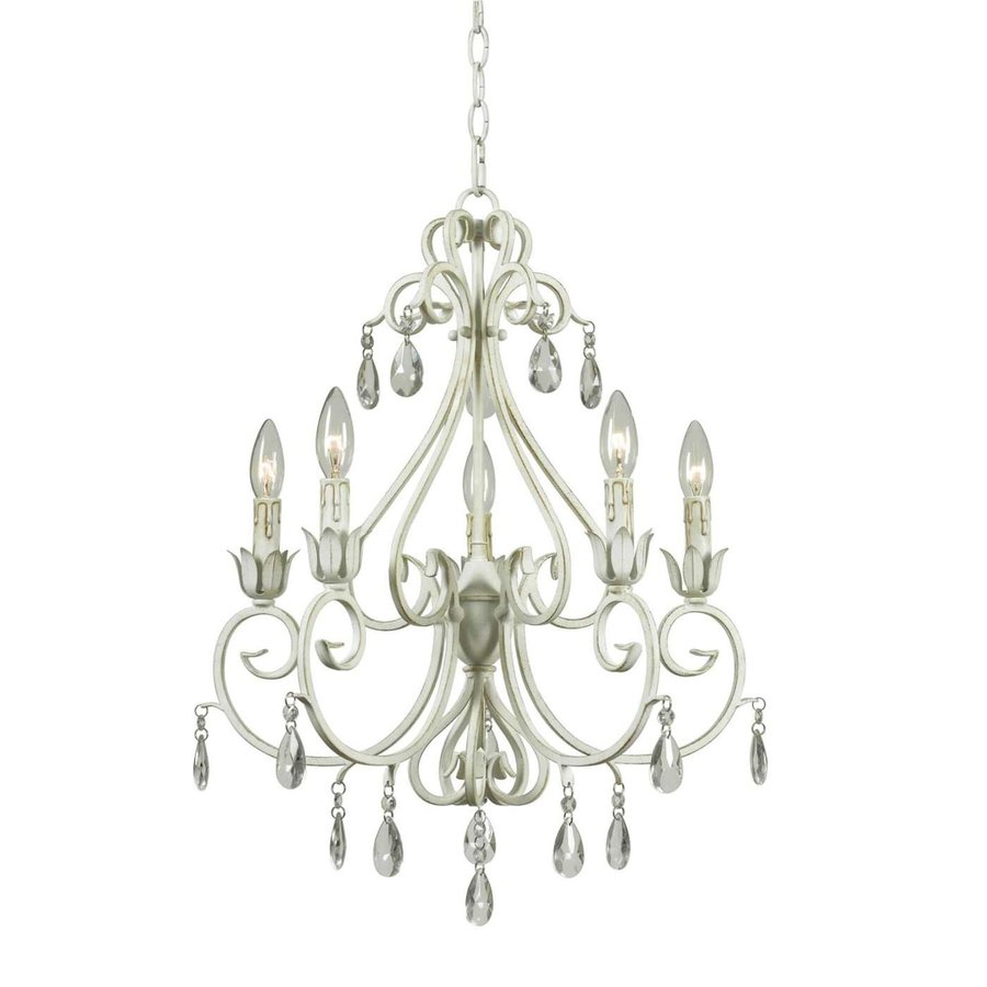 Kenroy Home Chamberlain 21-in 5-Light Weathered White Crystal Candle Chandelier