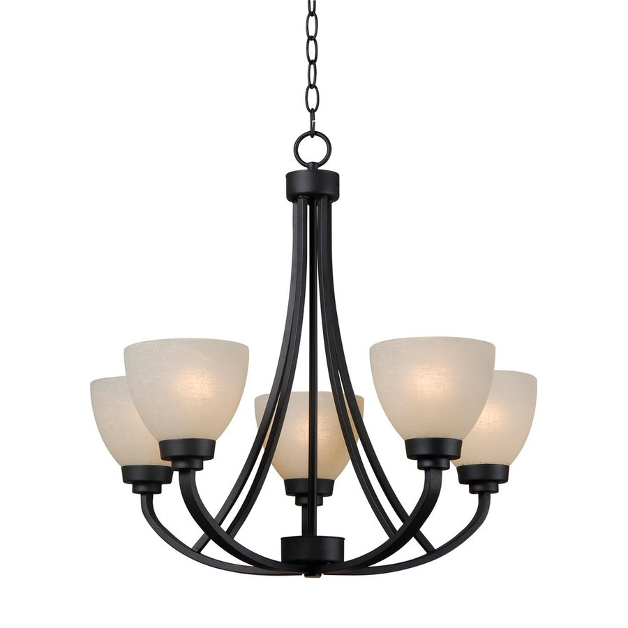 Kenroy Home Silk 24-in 5-Light Burnished Bronze Tinted Glass Shaded Chandelier