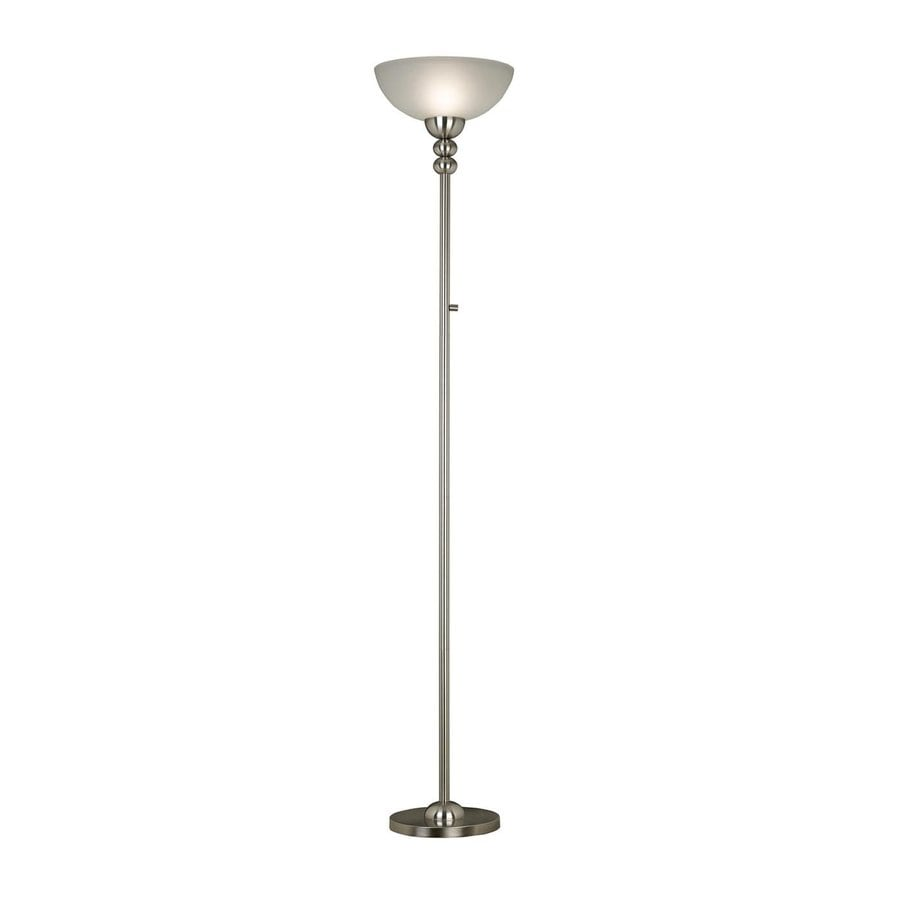 Kenroy Home Baubles 72-in Brushed Steel Touch On/Off Torchiere Floor Lamp with Glass Shade
