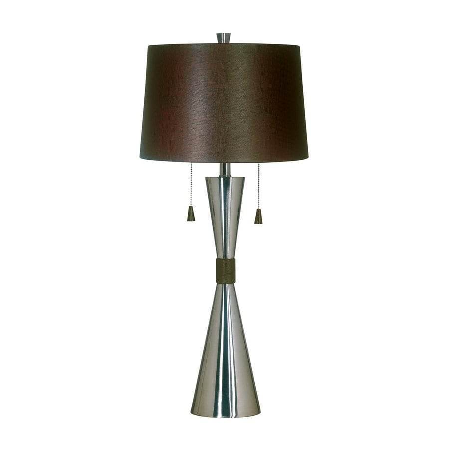 Kenroy Home 32-in Brushed Steel Standard Touch On/Off Indoor Table Lamp with Fabric Shade