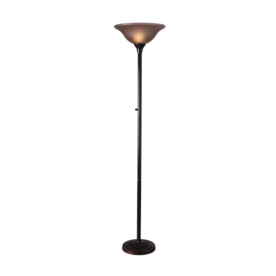 Kenroy Home Riverside 72-in Three-Way Copper Bronze Torchiere Floor Lamp with Glass Shade