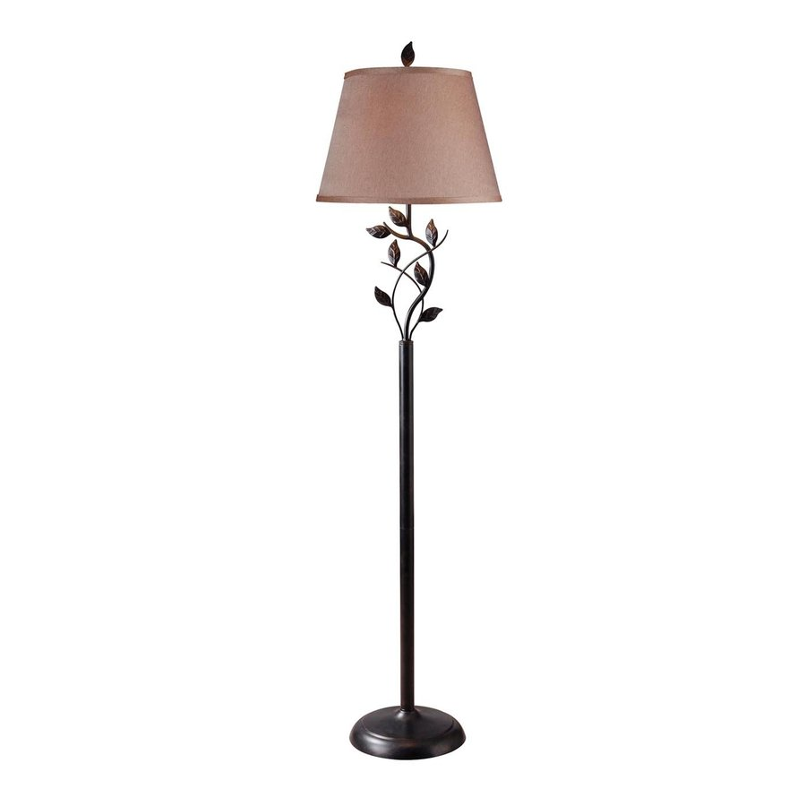 Shop kenroy home ashlen 58 in three way oil rubbed bronze for Floor lamp with different color shades