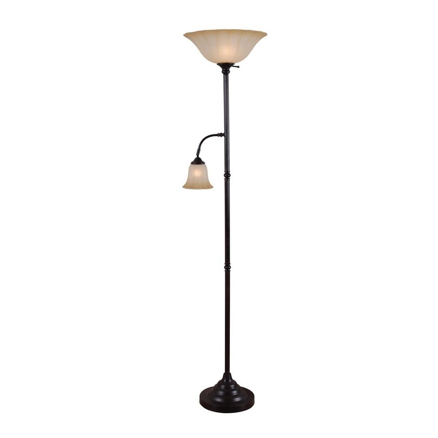 Kenroy Home Jubilee 71.98-in Golden Bronze Torchiere with Side-Light Floor Lamp with Glass Shade