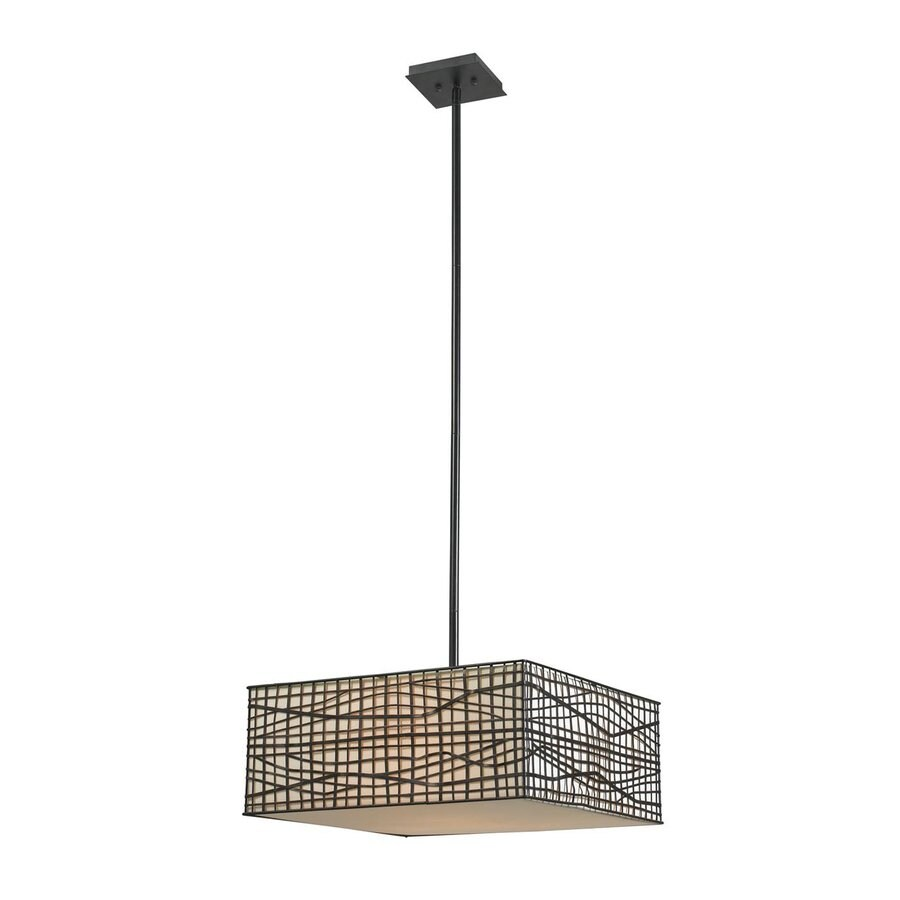 Kenroy Home Fortress 20-in Bronze Single Square Pendant
