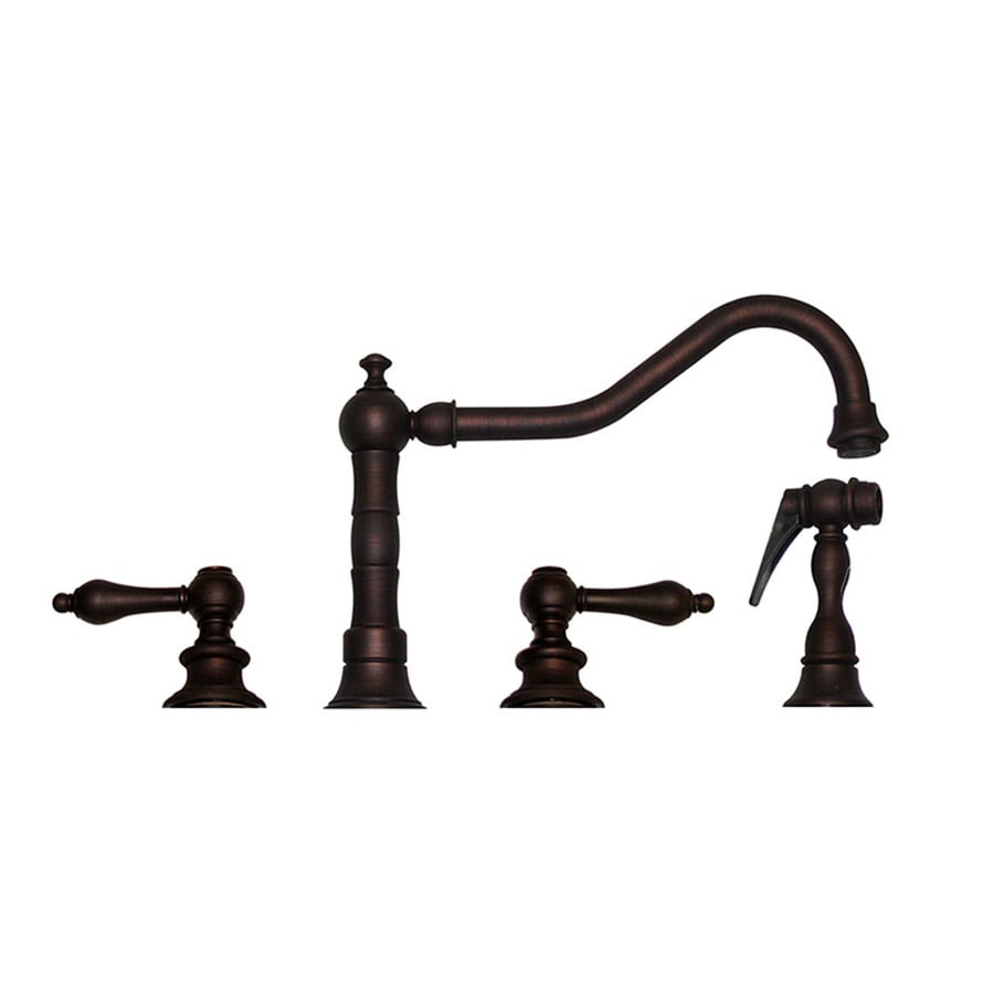 Whitehaus Collection Vintage III Mahogany Bronze 2-Handle Low-Arc Kitchen Faucet with Side Spray
