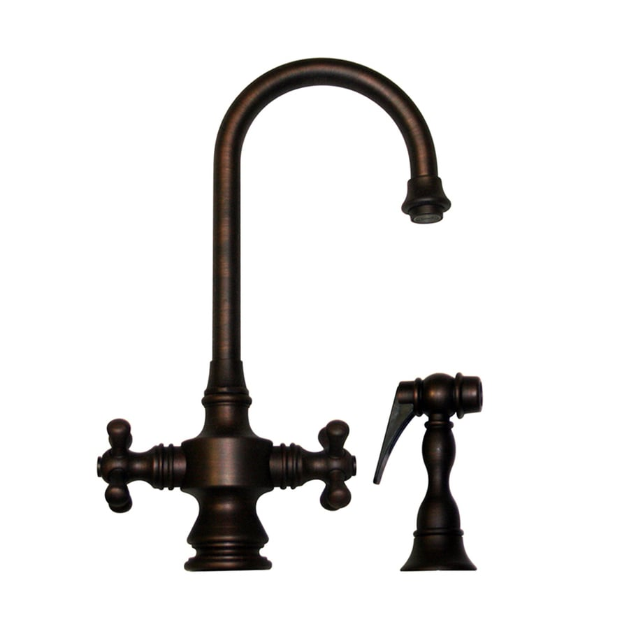 Whitehaus Collection Vintage III Mahogany Bronze 2-Handle Bar Faucet with Side Spray