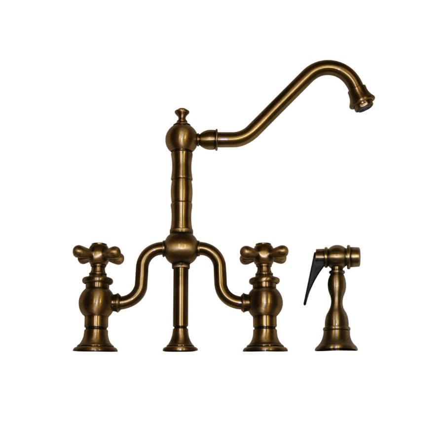 Whitehaus Collection Twisthaus Antique Brass 2-Handle Low-Arc Kitchen Faucet with Side Spray