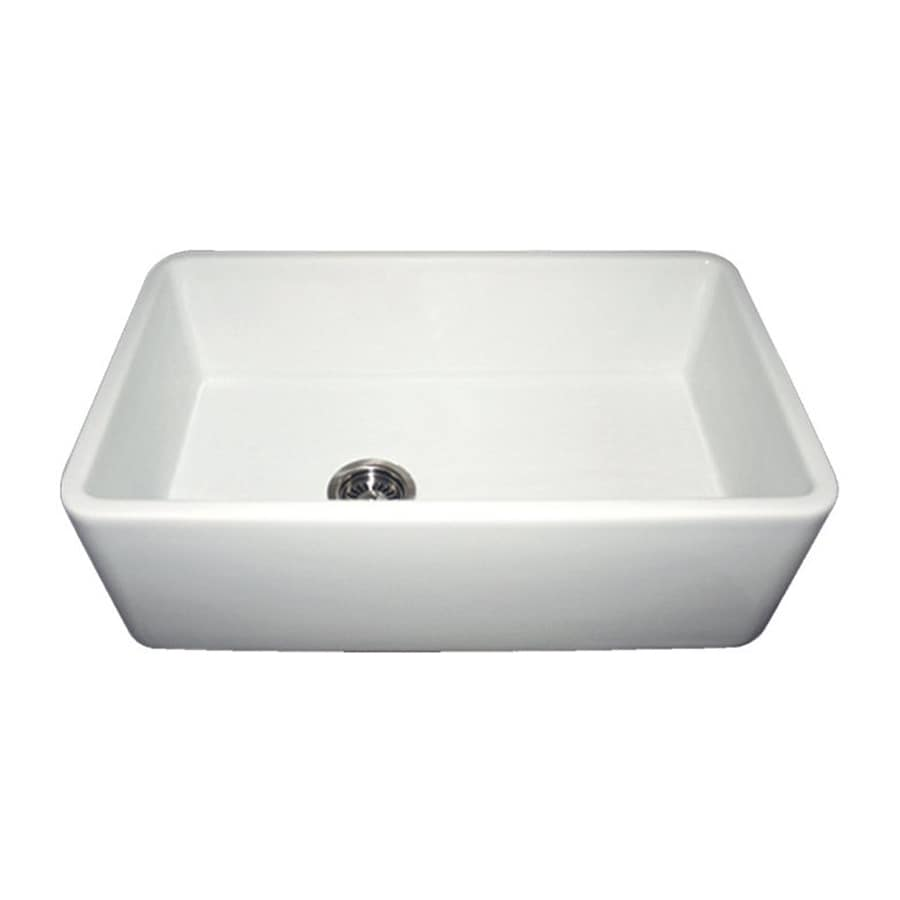 Whitehaus Collection Farmhaus Fireclay 18-in x 30-in White Single-Basin Fireclay Apron Front/Farmhouse Residential Kitchen Sink