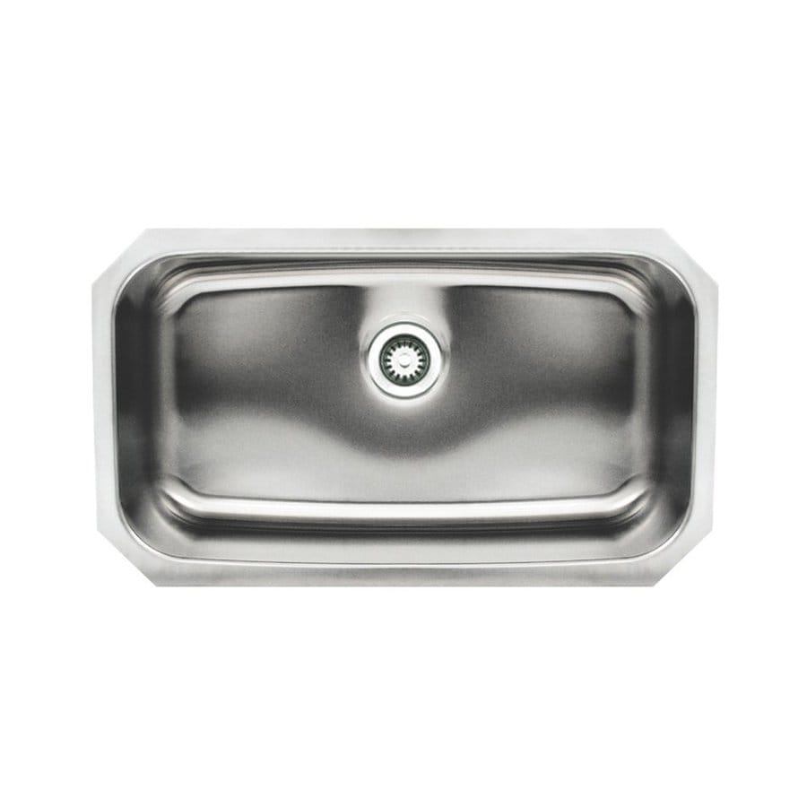 Whitehaus Collection Noah's 18.25-in x 30.5-in Brushed Stainless Steel Single-Basin Undermount Kitchen Sink