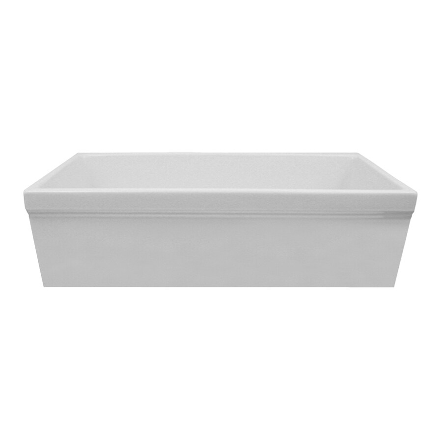 Whitehaus Collection Quatro Alcove 19.88-in x 29.38-in White Single-Basin Fireclay Apron Front/Farmhouse Residential Kitchen Sink