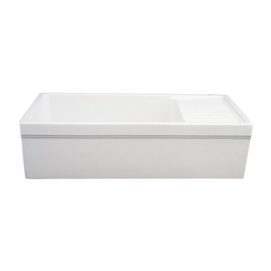 Shop whitehaus collection quatro alcove 20 in x 36 in white single basin fireclay apron front - Kitchen sinks apron front ...