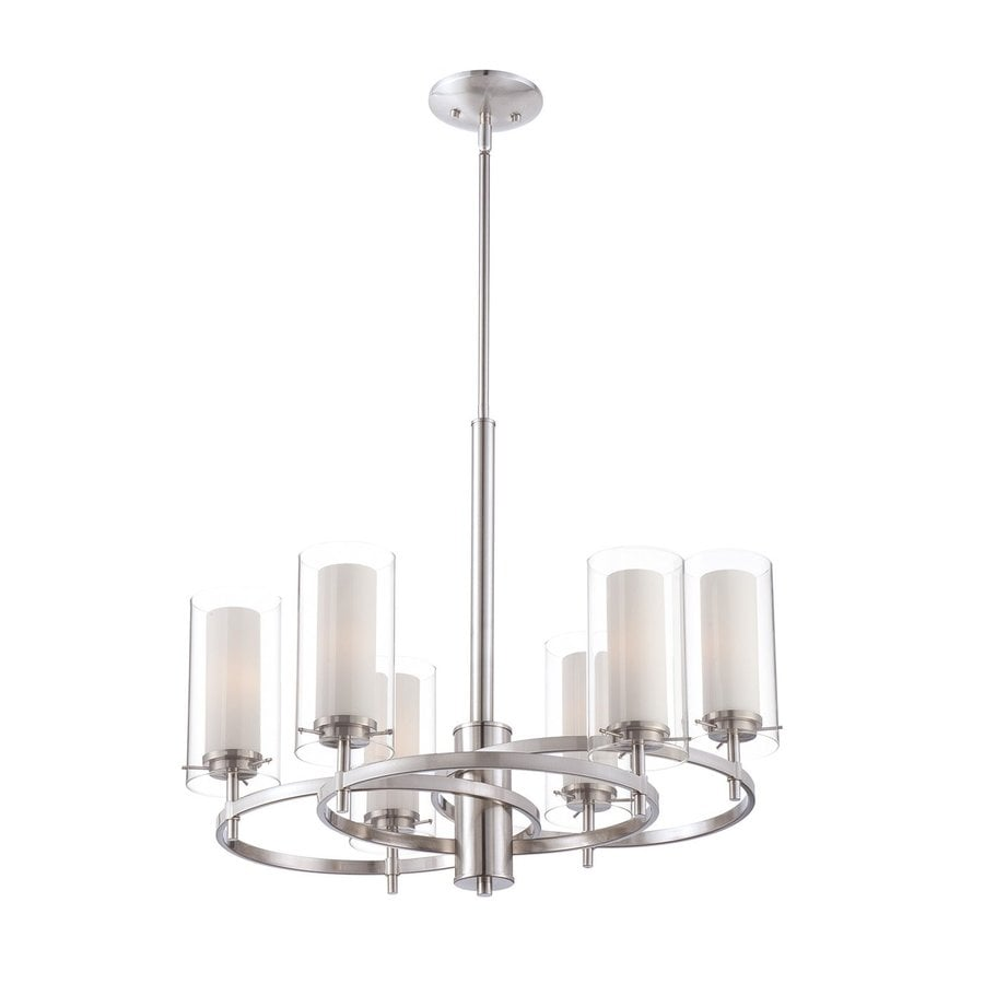 Philips Hula 24.25-in 6-Light Satin Nickel Clear Glass Shaded Chandelier