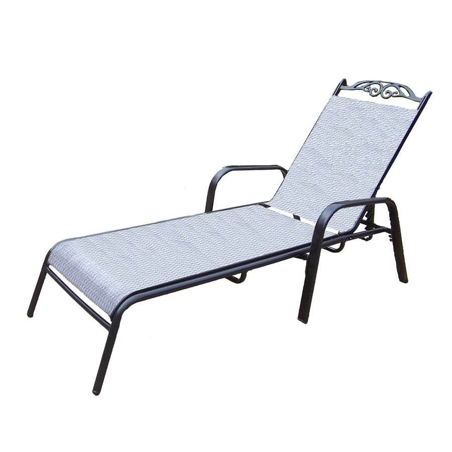 Shop oakland living cascade sling black aluminum patio for Aluminum outdoor chaise lounge