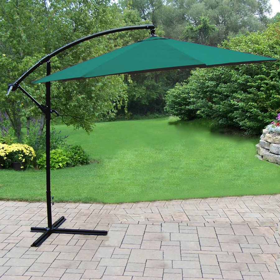 Oakland Living Rochester Green Offset Patio Umbrella (Common: 10-ft W x 10-ft L; Actual: 10-ft W x 10-ft L)