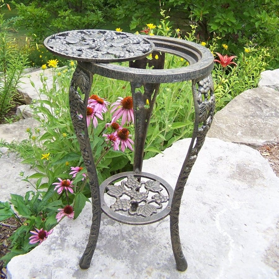 Oakland Living Vineyards 26.25-in Antique Bronze Round Cast Iron Plant Stand