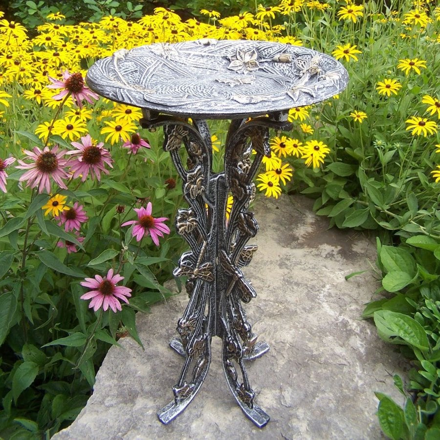 Oakland Living Butterfly and Dragonfly 28-in H 1-Tier Round Cast Iron Birdbath