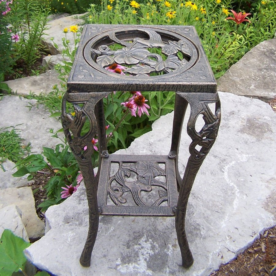 Oakland Living Hummingbird 26.25-in Antique Bronze Square Cast Iron Plant Stand