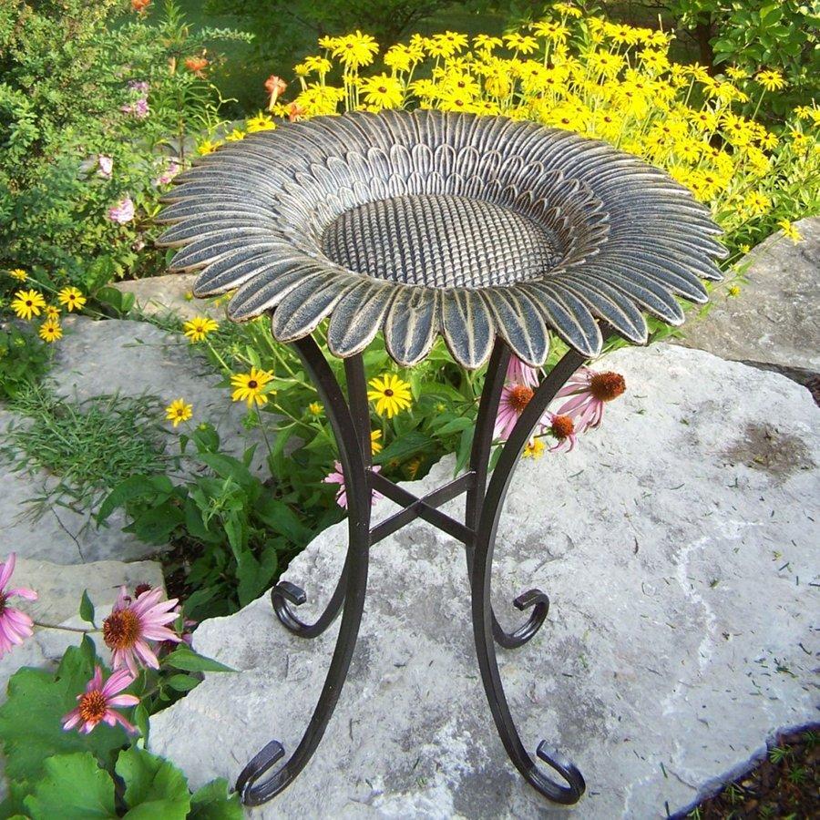 Oakland Living Sunflower 31-in H 1-Tier Round Cast Iron Birdbath