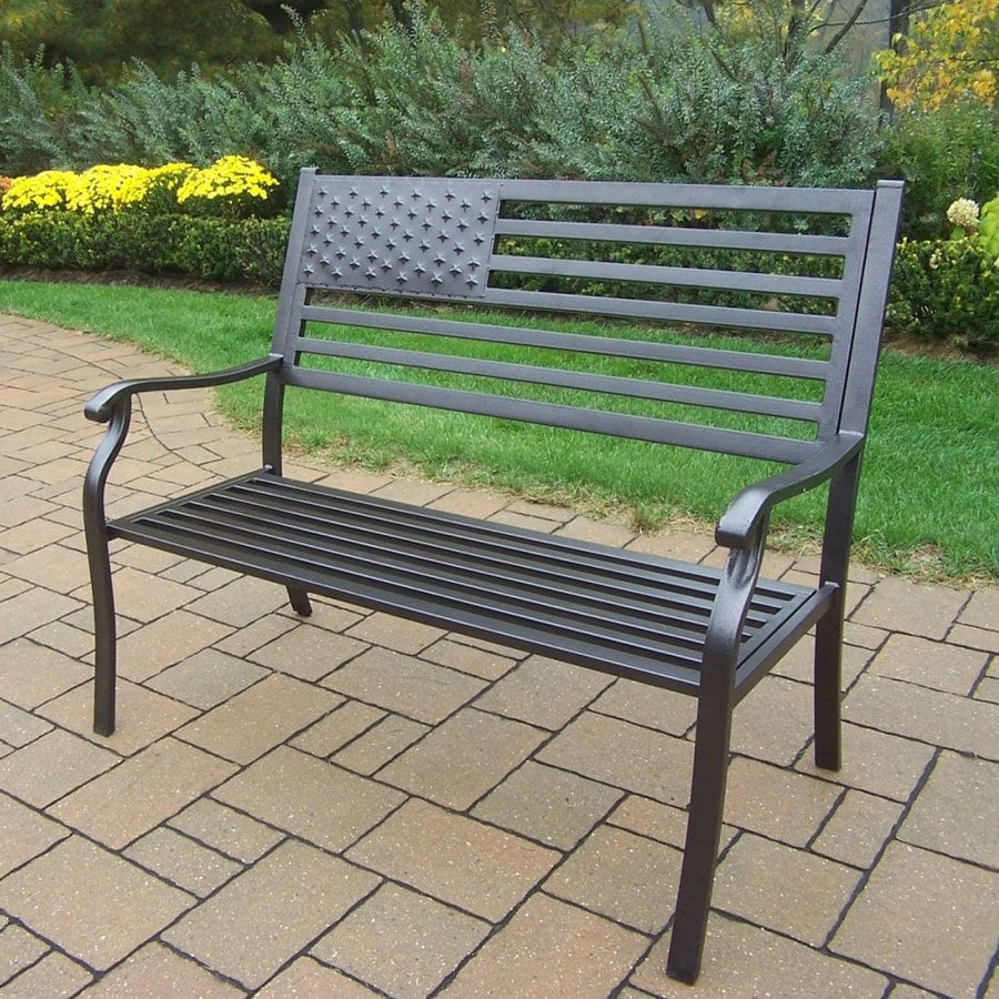 Oakland Living American Eagle 24-in W x 50-in L Hammer Tone Bronze Iron Patio Bench