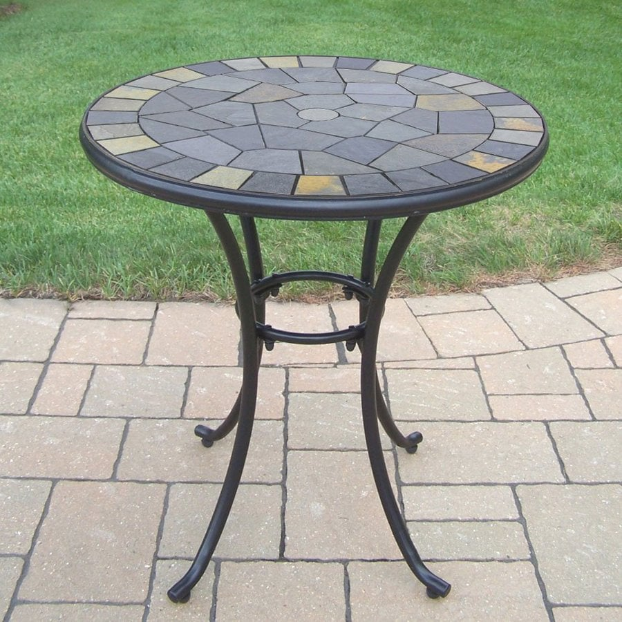 Oakland Living Stone Art 26-in W x 26-in L Round Iron Bistro Table