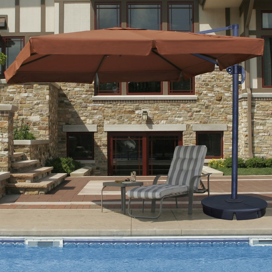 Swim Time Square Terra Cotta Offset Patio Umbrella with Crank (Common: 120-in; Actual: 120-in)