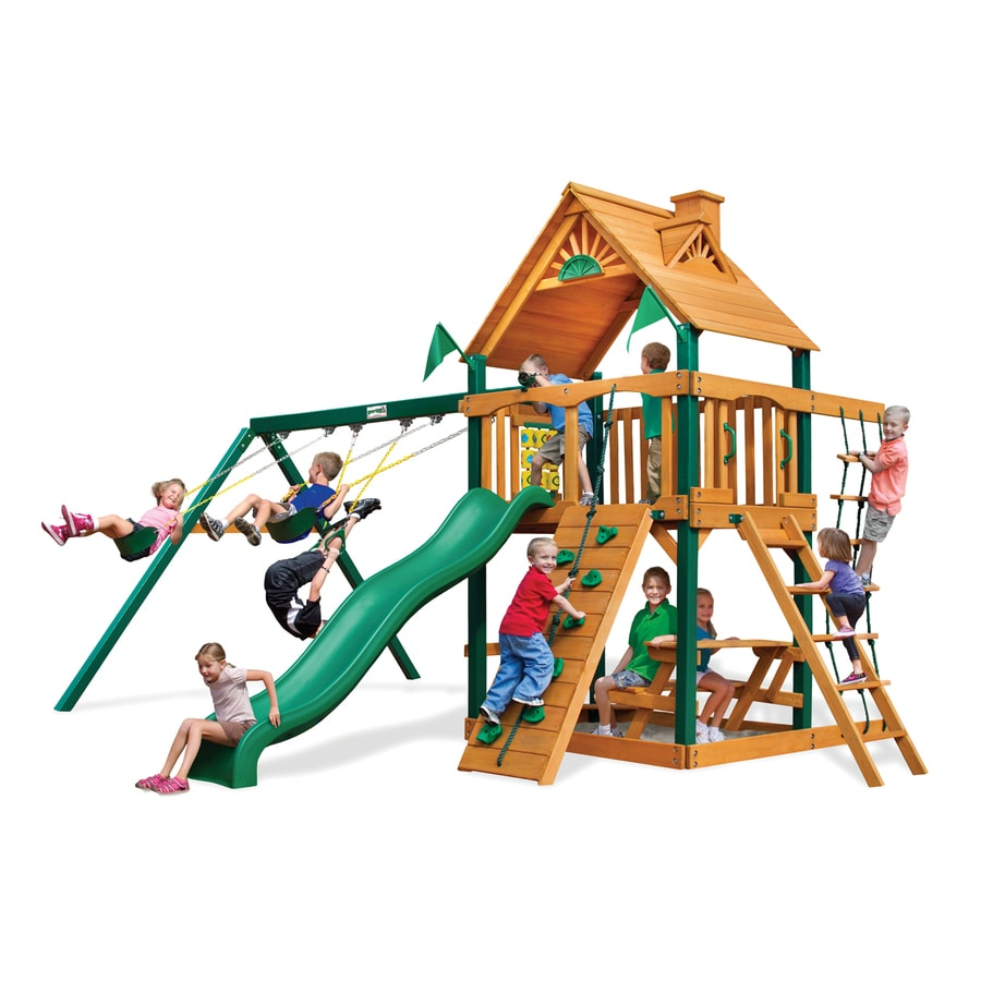 Gorilla Playsets Chateau II Residential Wood Playset with Swings