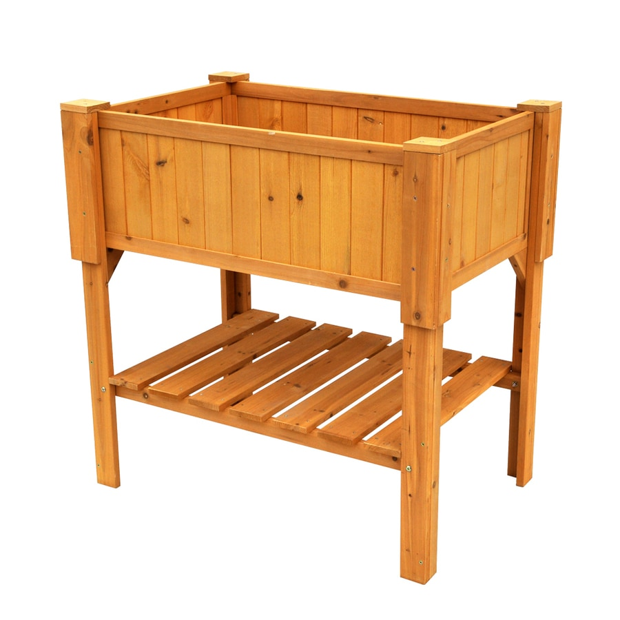 Leisure Season 36-in x 36-in Natural Cunninghamia Wood Raised Planter Box