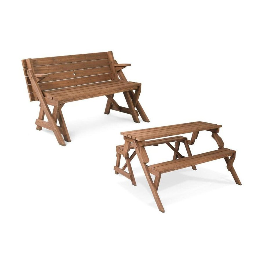 Shop Leisure Season 4 Ft 7 In Brown Wood Rectangle Picnic Table At